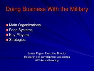 Doing Business With the Military