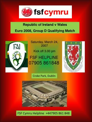 Republic of Ireland v Wales Euro 2008, Group D Qualifying Match