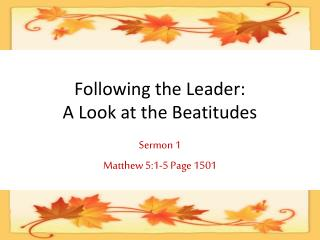 Following the Leader: A Look at the Beatitudes