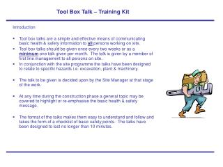 Tool Box Talk – Training Kit