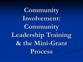 Community Involvement: Community Leadership Training & the Mini-Grant Process