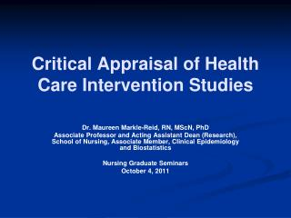 Critical Appraisal of Health Care Intervention Studies