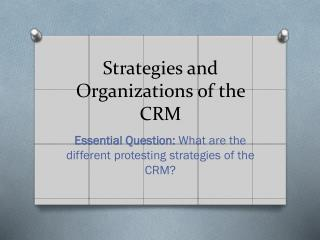 Strategies and Organizations of the CRM