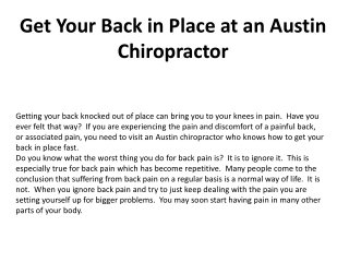 Get Your Back in Place at an Austin Chiropractor