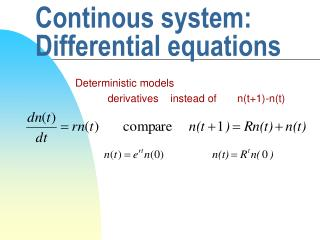 Continous system: Differential equations