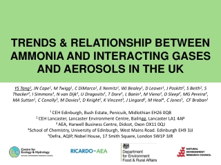 TRENDS & RELATIONSHIP BETWEEN AMMONIA AND INTERACTING GASES AND AEROSOLS IN THE UK