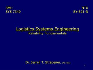 Logistics Systems Engineering Reliability Fundamentals
