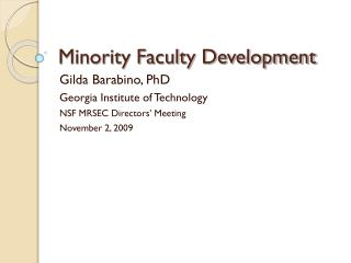 Minority Faculty Development