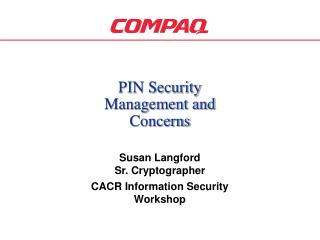 PIN Security Management and Concerns