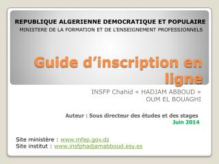 Guide d'inscription en ligne