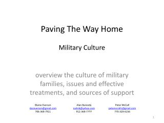 Paving The Way Home Military Culture