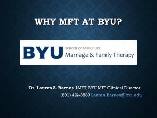Why MFT at BYU?