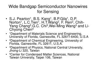 Wide Bandgap Semiconductor Nanowires for Sensing