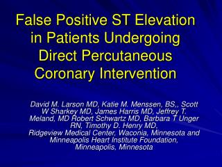 False Positive ST Elevation in Patients Undergoing Direct Percutaneous Coronary Intervention
