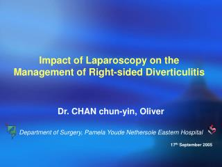 Impact of Laparoscopy on the Management of Right-sided Diverticulitis