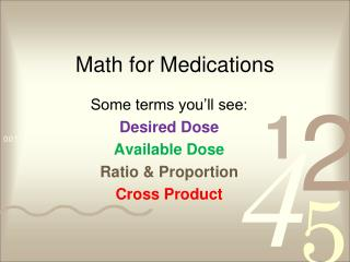 Math for Medications