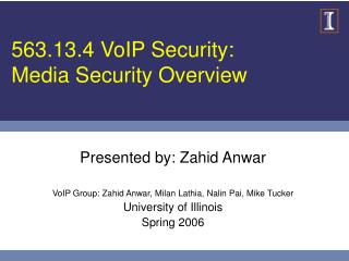 563.13.4 VoIP Security: Media Security Overview