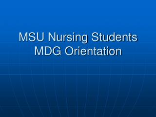 MSU Nursing Students MDG Orientation