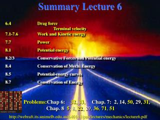 Summary Lecture 6