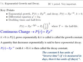 A quantity that decreases exponentially is said to have  exponential decay .