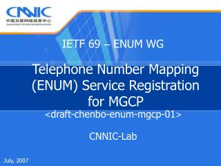 Telephone Number Mapping (ENUM) Service Registration for MGCP