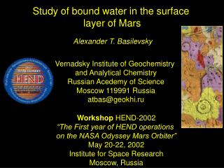 Study of bound water in the surface  layer of Mars