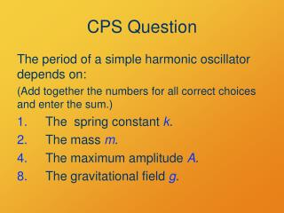 CPS Question
