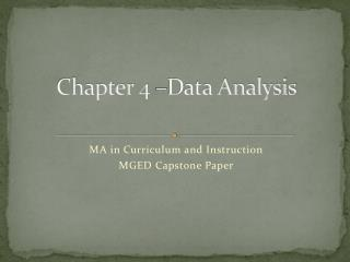 Chapter 4 –Data Analysis