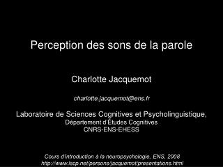 Perception des sons de la parole