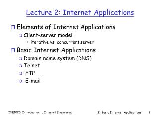 Lecture 2: Internet Applications
