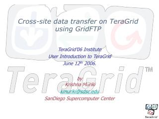 Cross-site data transfer on TeraGrid using GridFTP