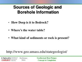 Sources of Geologic and  Borehole Information
