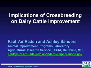 Implications of Crossbreeding on Dairy Cattle Improvement