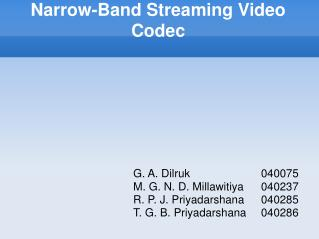 Narrow-Band Streaming Video Codec