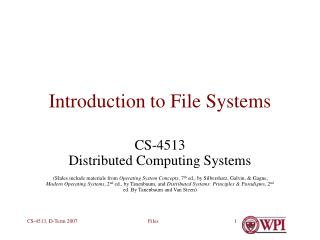 Introduction to File Systems