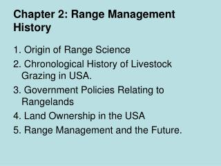 Chapter 2: Range Management History