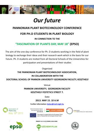 Pannonian  Plant Biotechnology  Conference  for  Ph.D Students in Plant  Biology