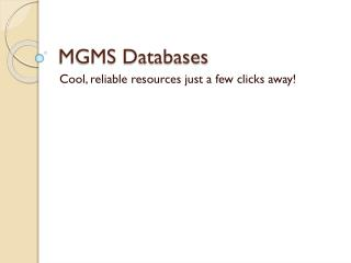 MGMS Databases