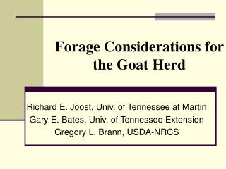 Forage Considerations for the Goat Herd