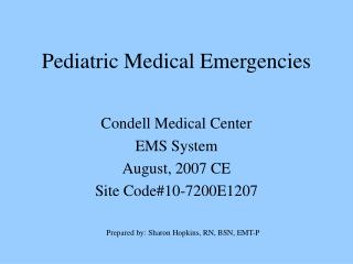Pediatric Medical Emergencies