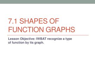 7.1 Shapes of Function Graphs