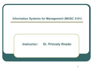 Information Systems for Management (MGSC 3101)