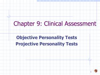 Chapter 9: Clinical Assessment