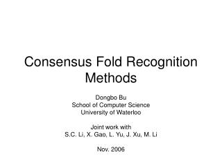 Consensus Fold Recognition Methods