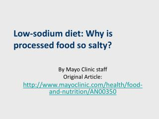 Low-sodium diet: Why is processed food so salty?