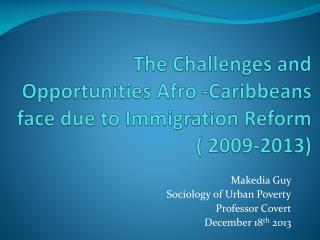 The Challenges and Opportunities  Afro - Caribbeans face due to Immigration Reform ( 2009-2013)