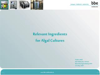Relevant Ingredients  for Algal Cultures