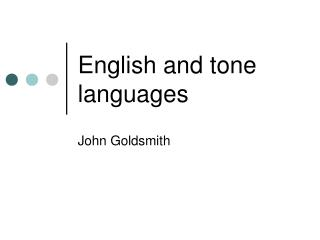 English and tone languages