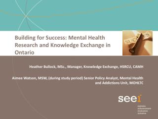 Building for Success: Mental Health Research and Knowledge Exchange in Ontario