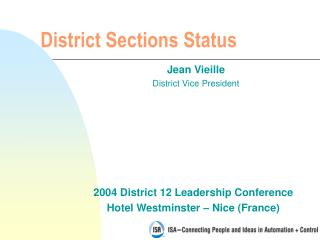 District Sections Status